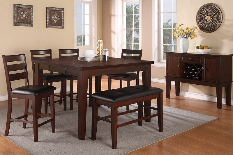 6PCS COUNTER HEIGHT TABLE + 4 HIGH CHAIRS+ 1 HIGH BENCH