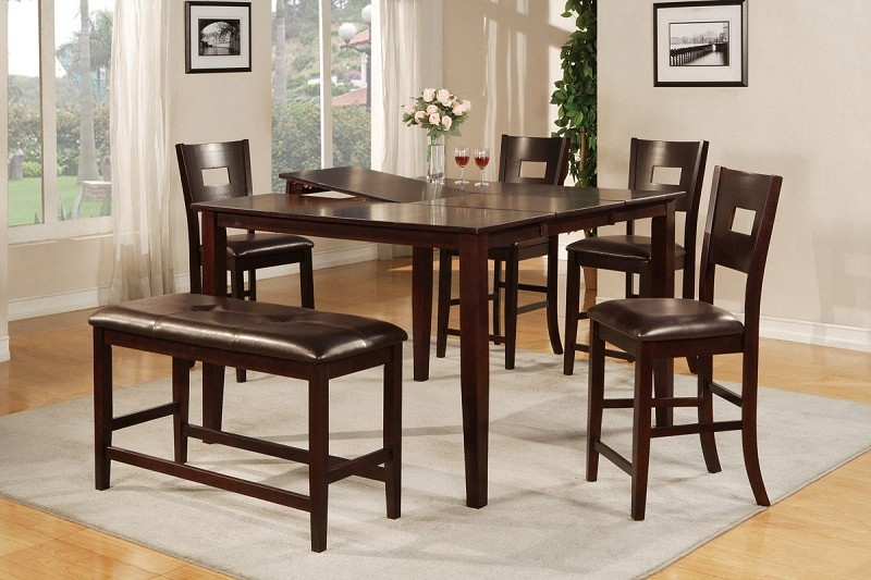 6PCS COUNTER HEIGHT TABLE+4 CHAIRS+1 BENCH