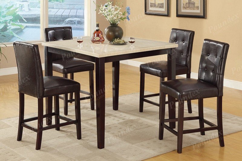 POUNDEX 5 PCS DINETTE SET COUNTER TOP TABLE+ 4 CHAIRS, F2338, F1144