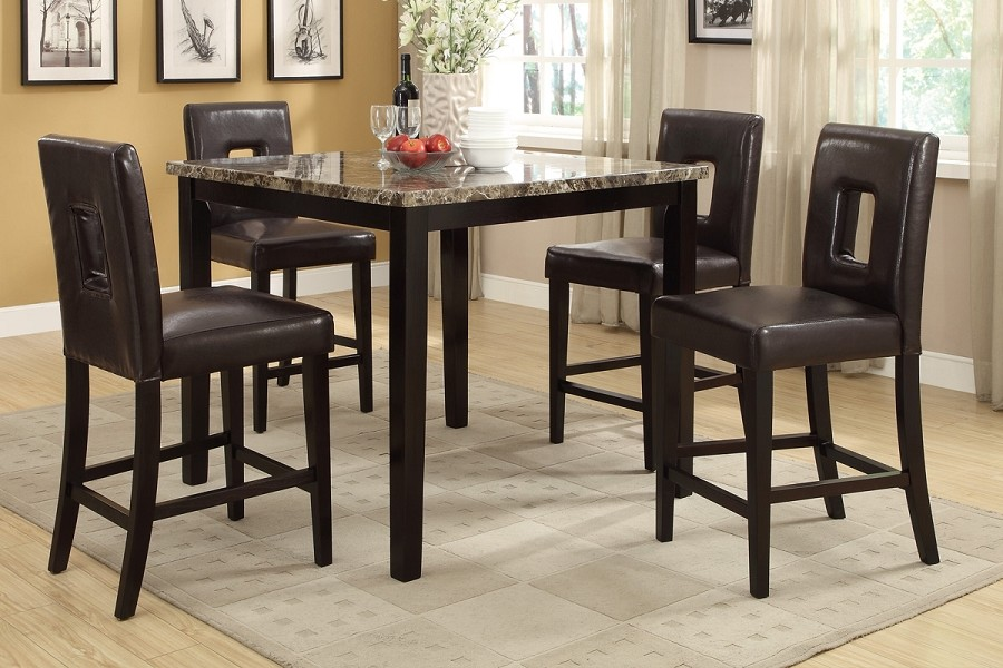 5PCS TABLE+4CHAIRS FAUX MARBLE TOP TABLE