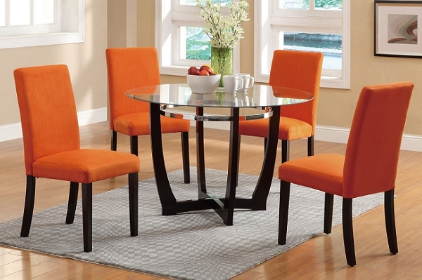 POUNDEX 5 PC DINETTE SET GLASS TOP ORANGE MICROFIBER FINISH, F2348
