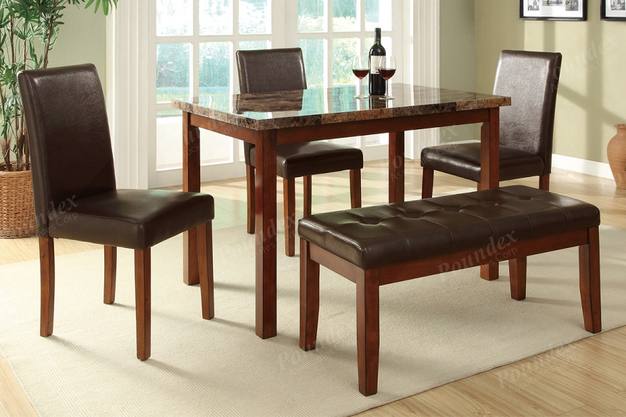 POUNDEX 5PC DINETTE SET , TABLE+3 CHAIRS+1 BENCH FAUX MARBLE , F2509