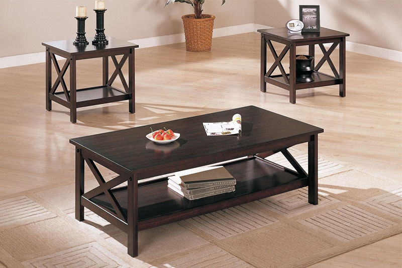 Poundex 3pcs Set Tables 1 Coffee Table 2 End Tables F3069