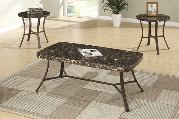 POUNDEX 3PC SET TABLE FAUX MARBLE, 1COFFEE TABLE+2END TABLES, F3090