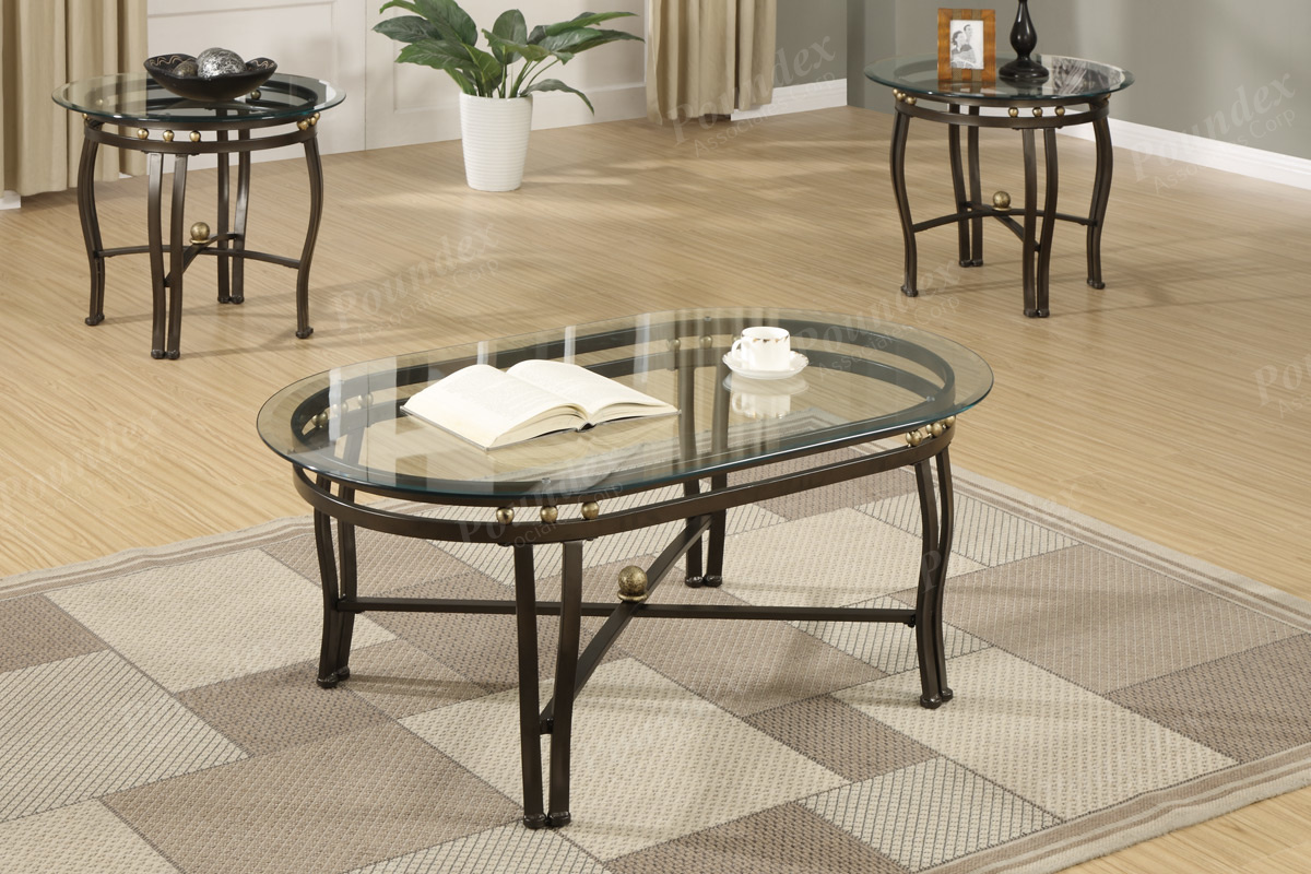 Poundex 3pcs Set Tables 1 Coffee Table 2 End Tables F2368