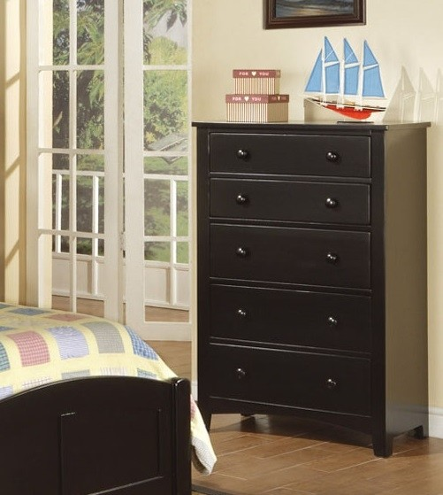 POUNDEX, 5 DRAWERS CHEST BLACK, F4237