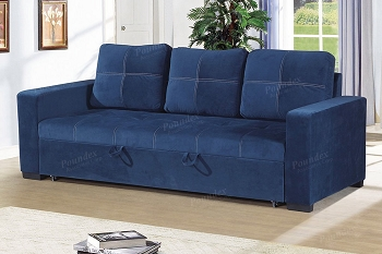 POUNDEX, SOFA WITH PULL OUT BED BLUE GRAY, F6531