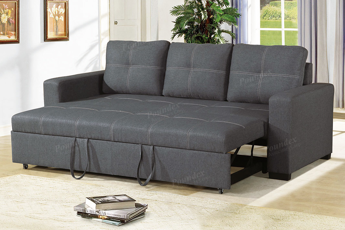 Poundex Sofa With Pull Out Bed Blue Gray F6532
