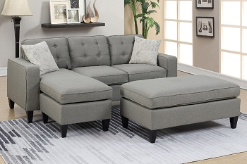 POUNDEX, REVERSIBLE SECTIONAL LIGHT GRAY, F6576