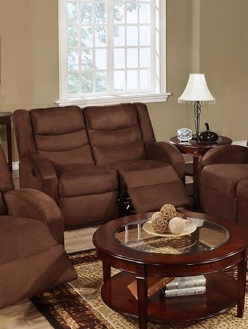 POUNDEX  MOTION LOVE SEAT W/ 2 RECLINERS CHOCOLATE MICROFIBER, F6667