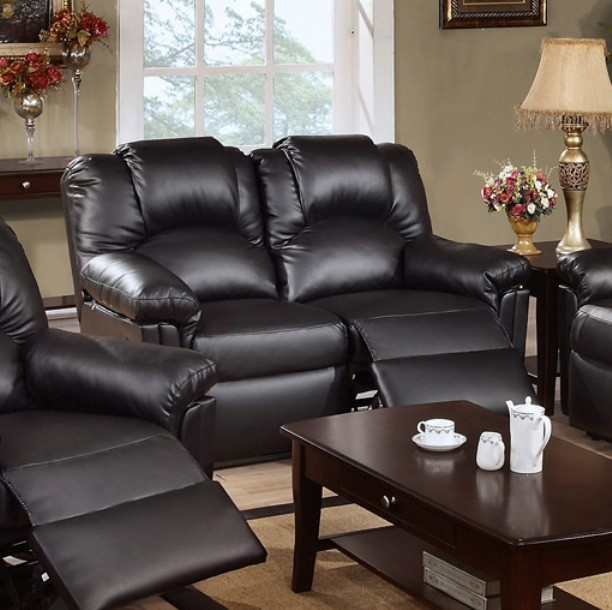 MOTION LOVE SEAT W/2 RECLINERS, BLACK BONDED LEATHER.