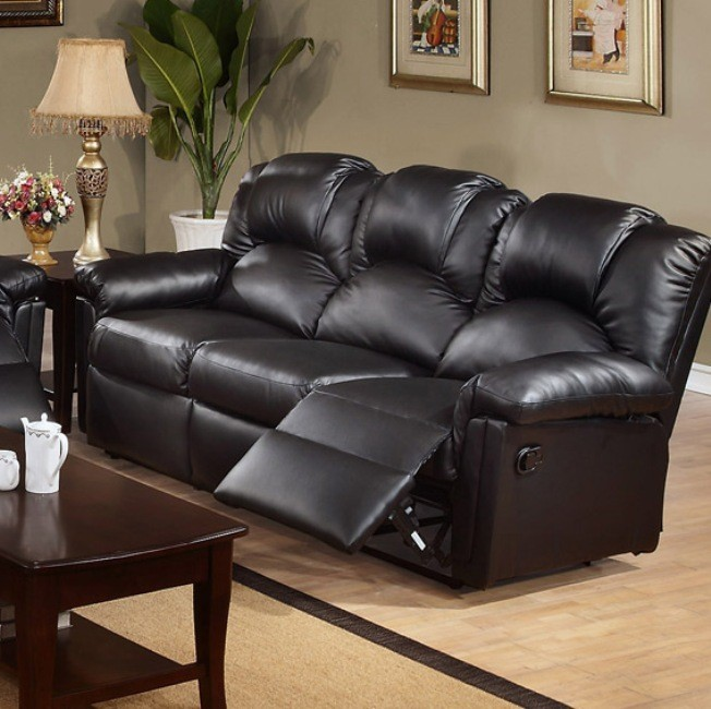 POUNDEX, MOTION SOFA W/2 RECLINERS,BLACK BONDED LEATHER, F6672