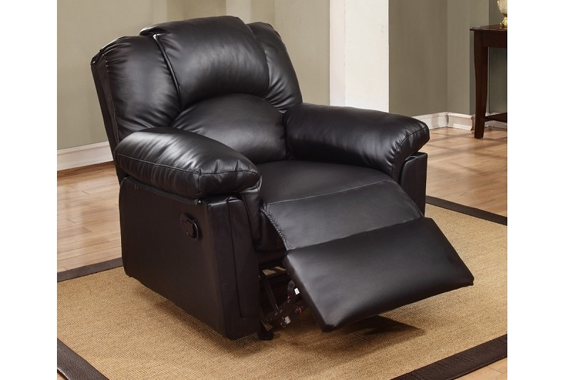 POUNDEX, ROCKER RECLINER BLACK BONDED LEATHER, F6673
