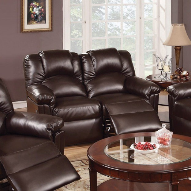 MOTION LOVE SEAT W/2 RECLINERS,ESPRESSO BONDED LEATHER.