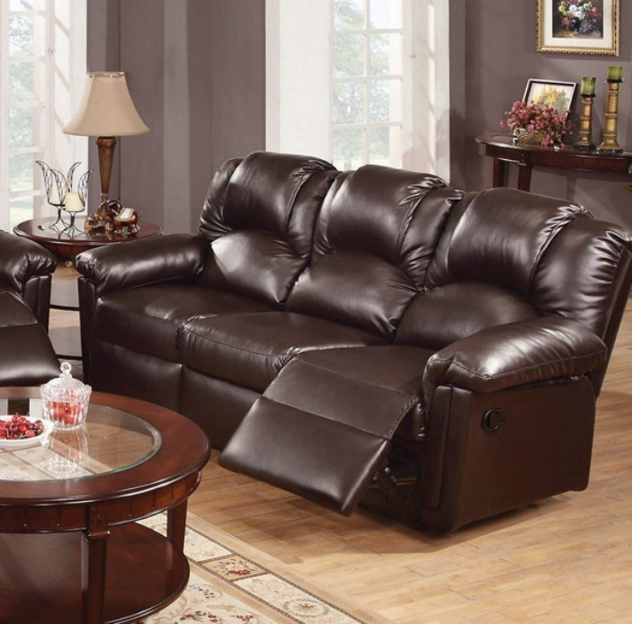 POUNDEX, MOTION SOFA W/2 RECLINERS, ESPRESSO BONDED LEATHER, F6675