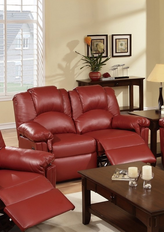 MOTION LOVE SEAT W/2 RECLINERS, BURGUNDY BONDED LEATHER.