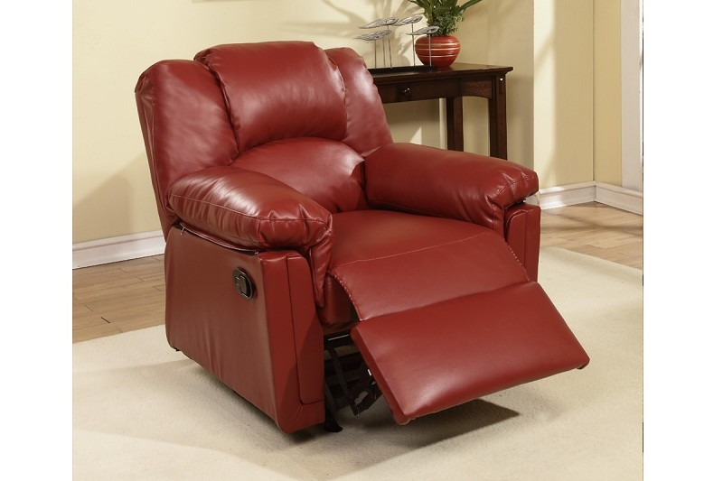 POUNDEX, ROCKER RECLINER BURGUNDY BONDED LEATHER, F6679