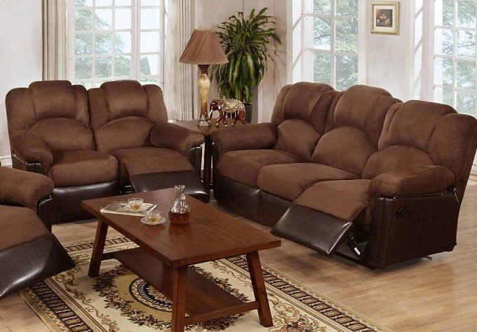 POUNDEX 2PC MOTION SOFA SET, CHOCOLATE MICROFIBER, F6681, F6682