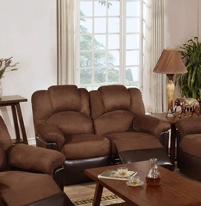 POUNDEX MOTION LOVE SEAT W/2 RECLINERS, CHOCOLATE MICROFIBER, F6681
