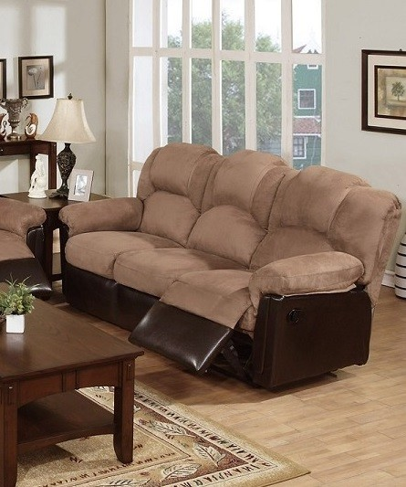 POUNDEX MOTION SOFA W/2 RECLINERS, SADDLE MICROFIBER, F6685