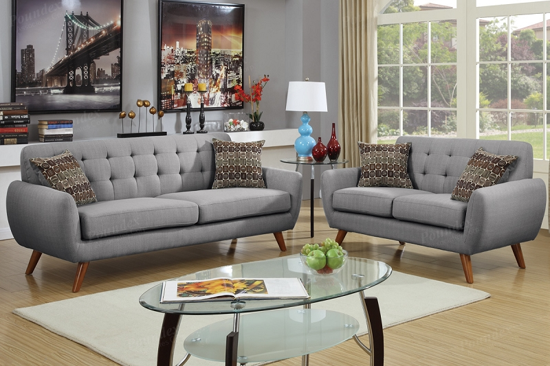Pleasing Poundex 2 Pcs Sofa Set Gray F6912 Creativecarmelina Interior Chair Design Creativecarmelinacom