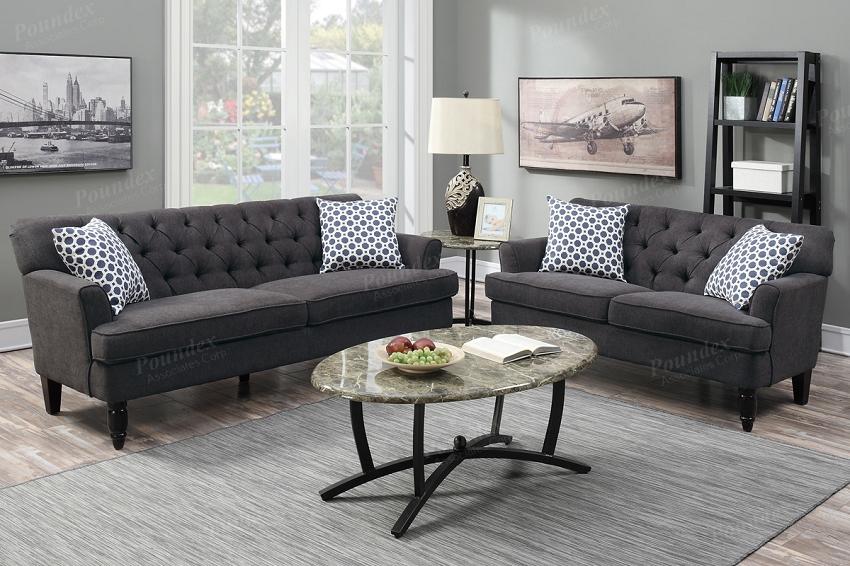 Enjoyable Poundex 2 Pcs Sofa Set Slate Velveteen Fabric F6941 Creativecarmelina Interior Chair Design Creativecarmelinacom