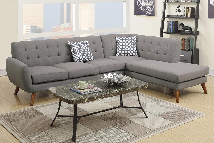 Poundex 2 Pcs Sectional Sofa Gray F6953