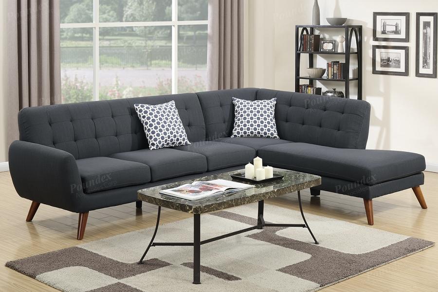 Poundex 2 Pcs Sectional Sofa Ash Black F6954