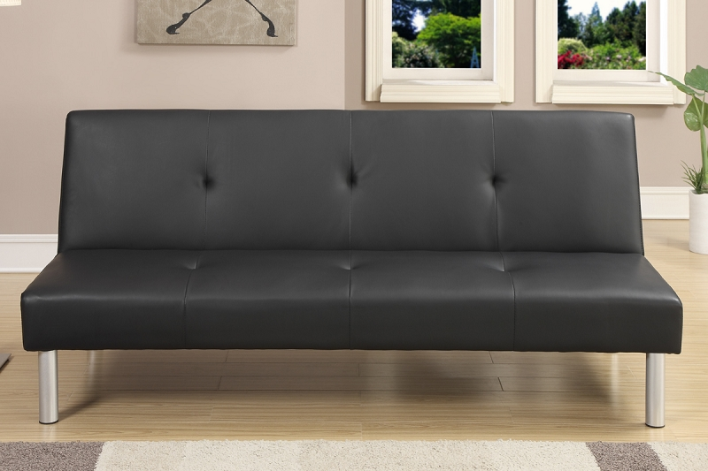 Poundex Adjustable Sofa Black Faux Leather F7003