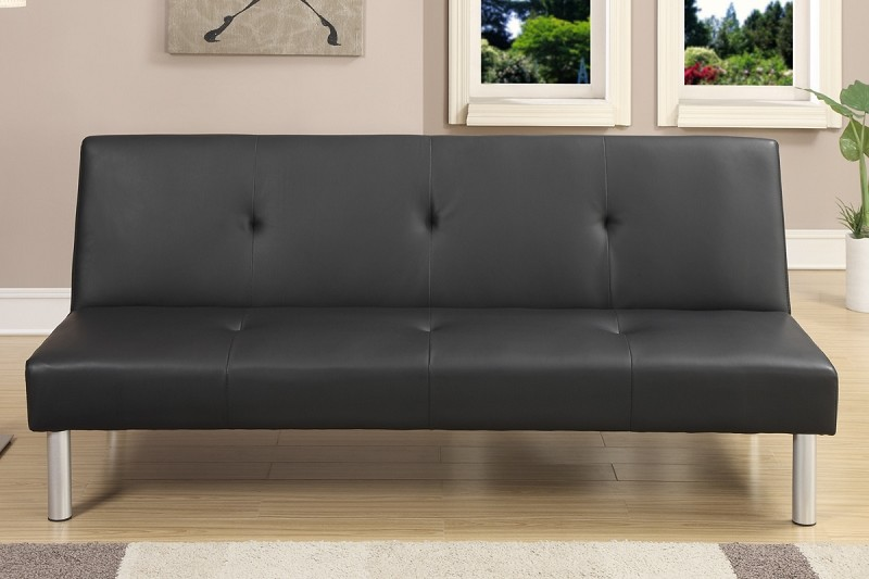 POUNDEX, ADJUSTABLE SOFA BLACK FAUX LEATHER, F7003