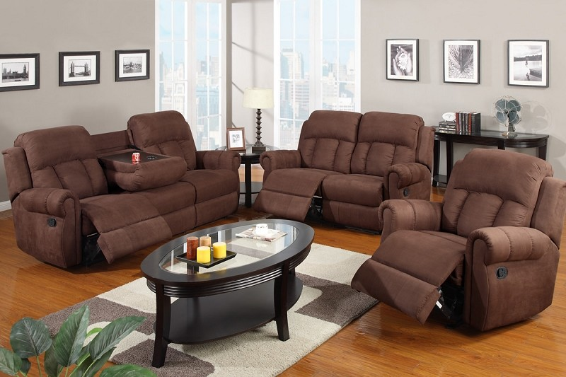POUNDEX, 2 PCS MOTION SOFA SET CHOCOLATE MICROFIBER, F7048/F7049