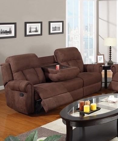 POUNDEX MOTION SOFA  W/2 RECLINERS, CHOCOLATE MICROFIBER, F7049
