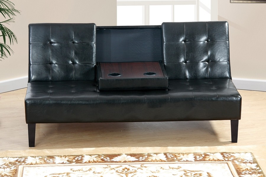 POUNDEX FUTON WITH CONSOLE BLACK  FAUX LEATHER, F7209