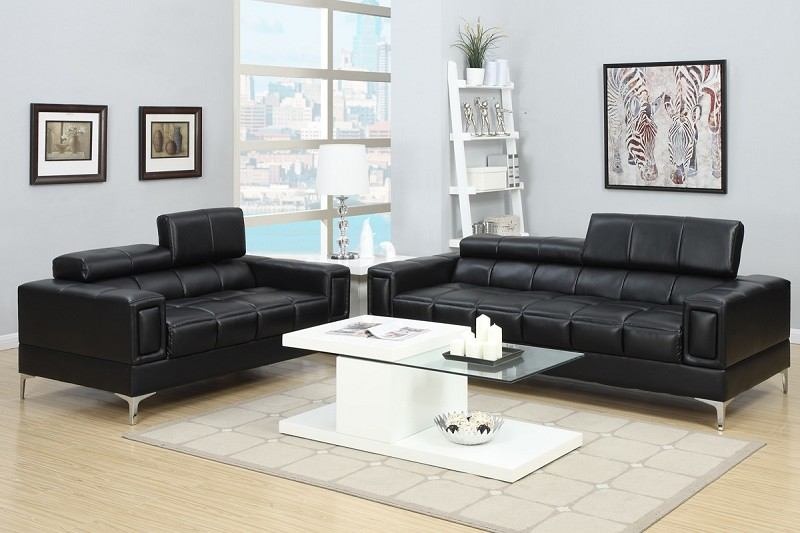 POUNDEX, 2 PCS SOFA SET BLACK, F7239