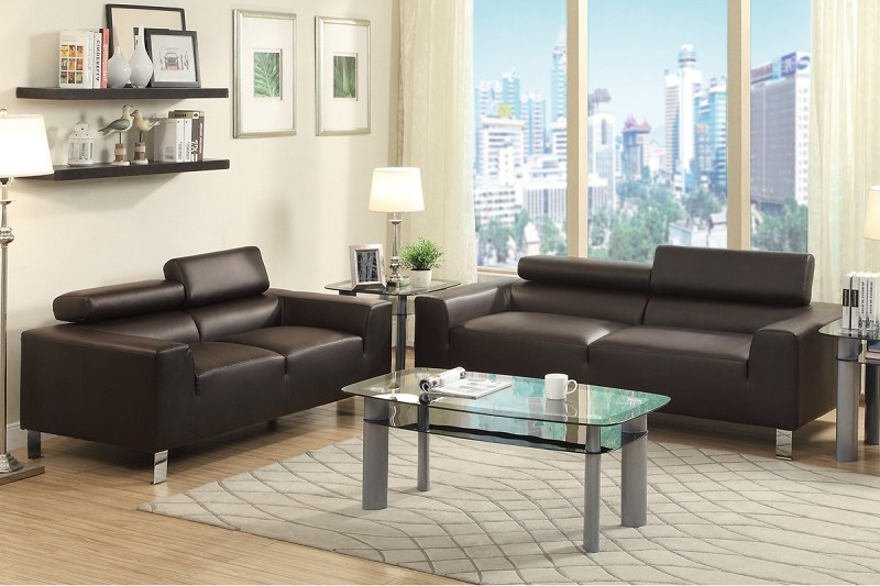 POUNDEX, 2 PCS SOFA SET ESPRESSO BONDED LEATHER, F7264