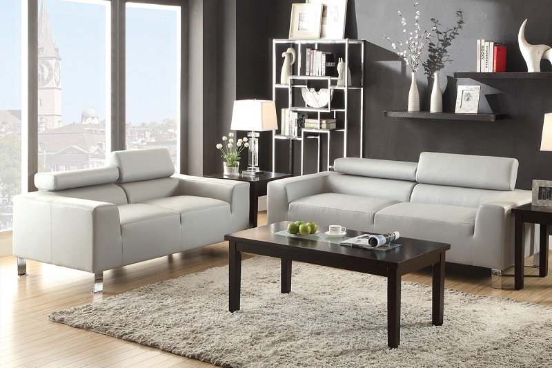 POUNDEX, 2 PCS SOFA SET GRAY BONDED LEATHER, F7265