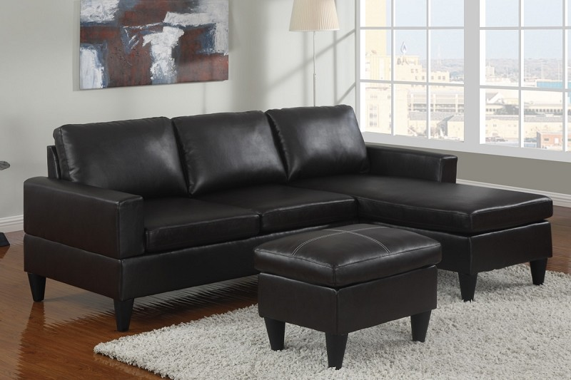 POUNDEX 3PCS SECTIONAL+OTTOMAN BLACK FAUX LEATHER , F7297