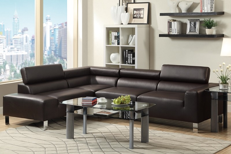 POUNDEX 2 PCS SECTIONAL BONDED LEATHER, F7299