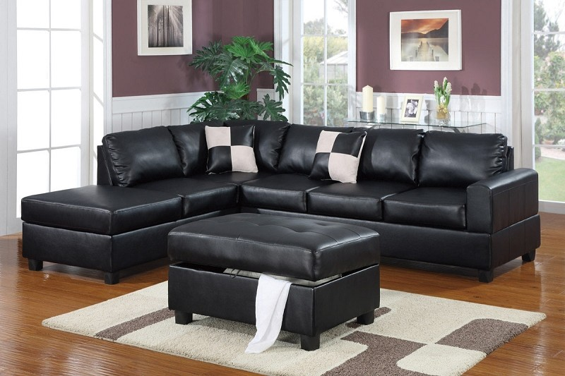 POUNDEX 3 PC SECTIONAL SOFA+OTTOMAN, F7355