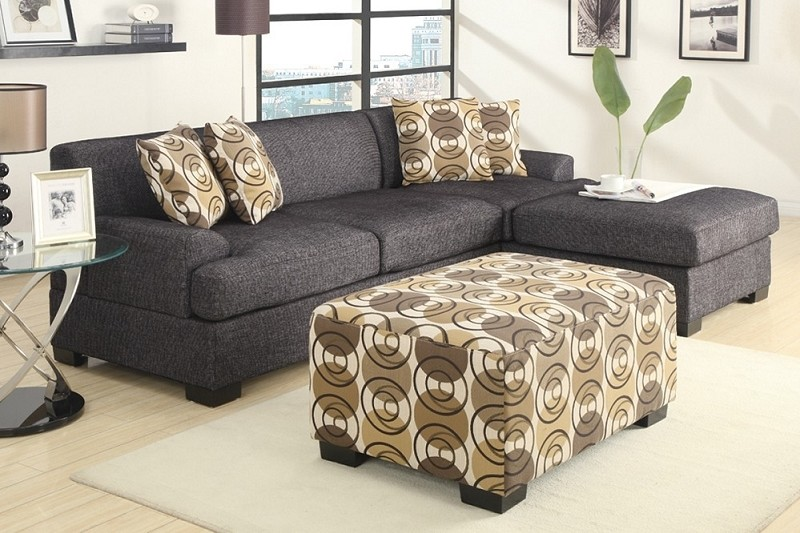 POUNDEX 2PCS SECTIONAL  SET  + 4 PILLOWS ASH BLACK, F7446