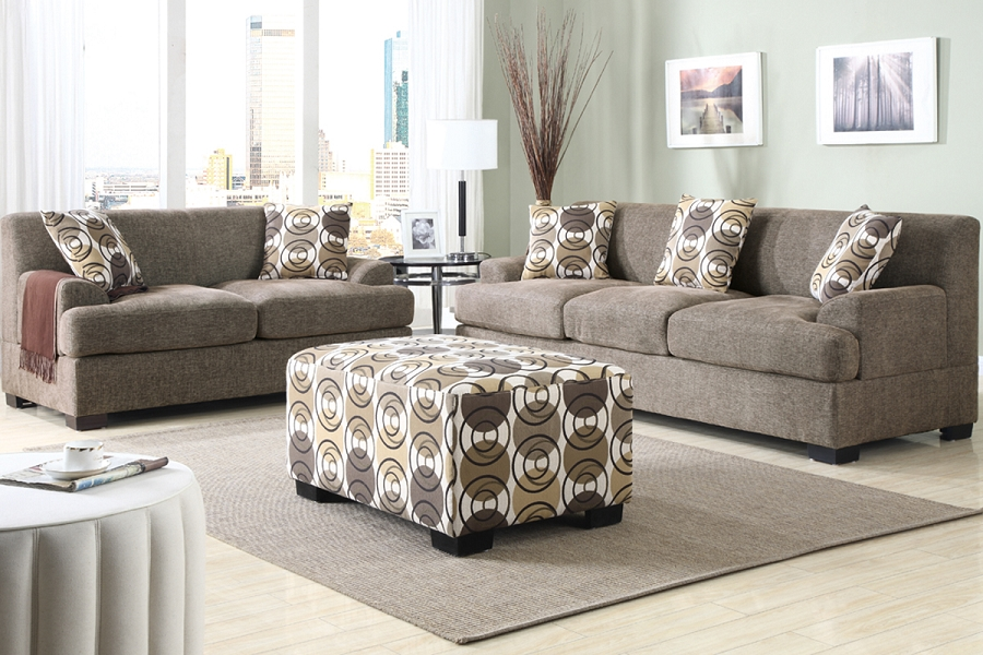 POUNDEX SOFA + LOVE SEAT+5 PILLOWS SLATE FAUX LINEN (OTTOMAN SOLD SEPARATELY)