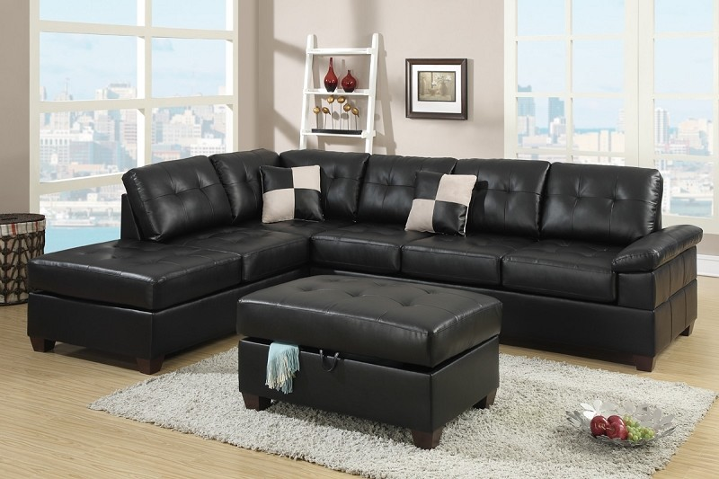 POUNDEX 2 PCS SECTIONAL SET + OTTOMAN STORAGE, F7519