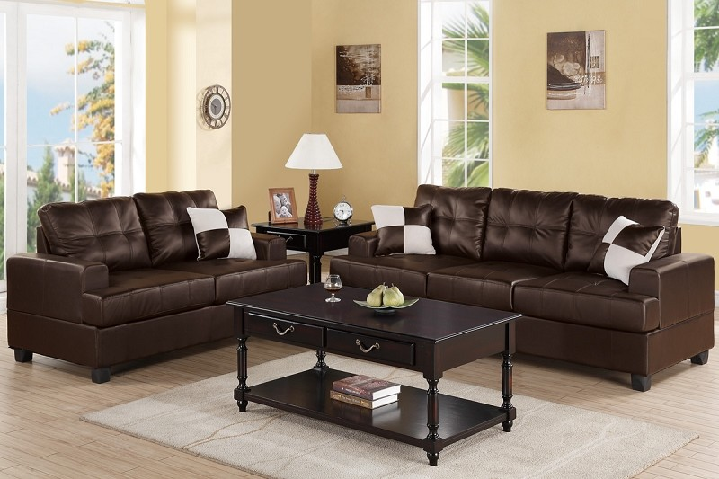 POUNDEX, 2PC SOFA SET ESPRESSO, F7577