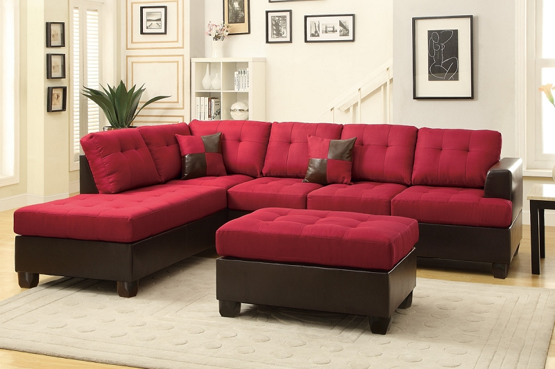 POUNDEX 3 PCS SECTIONAL SOFA+OTTOMAN, F7601