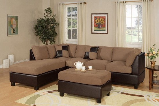 POUNDEX 3 PC SECTIONAL MICROFIBER FREE OTTOMAN, F7616