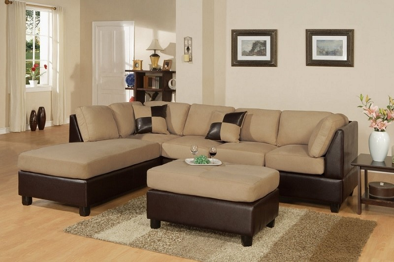 POUNDEX 3 PC SECTIONAL MICROFIBER FREE OTTOMAN, F7619