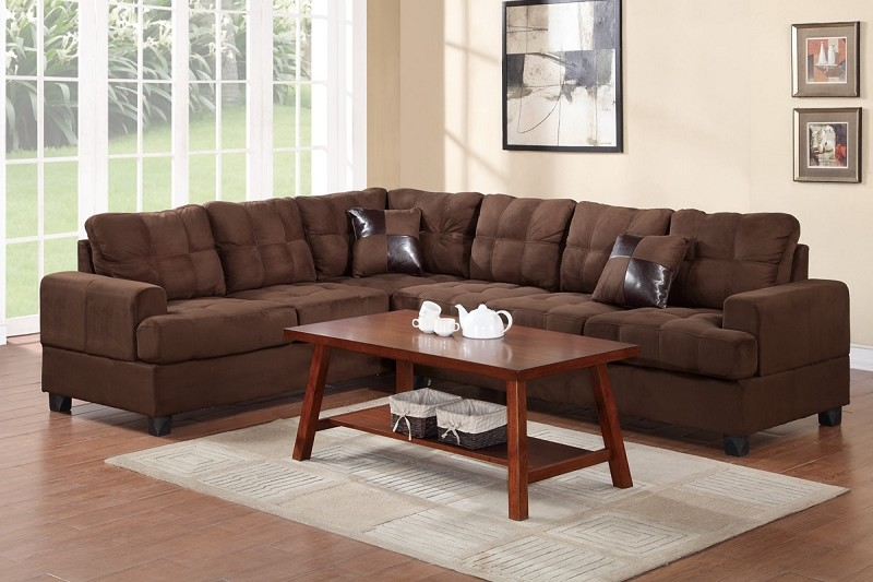 POUNDEX 2PCS SECTIONAL SOFA WITH 2 ACCENT PILLOWS, F7627