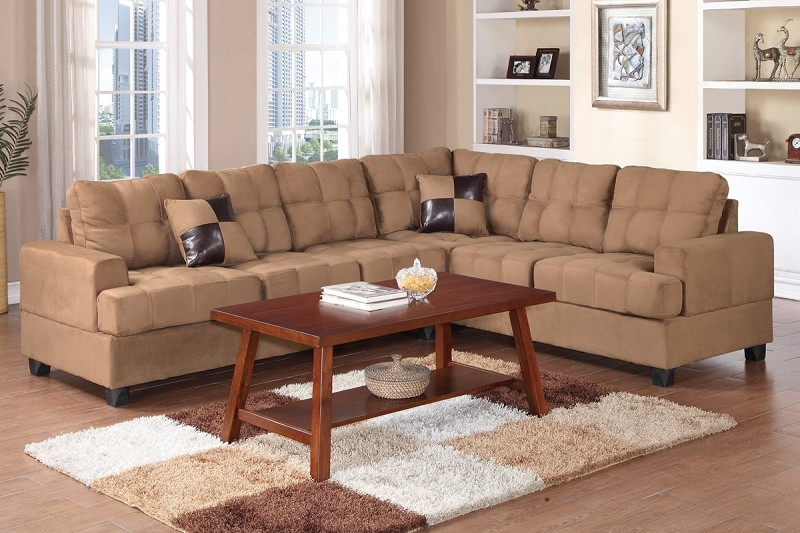 POUNDEX 2PCS SECTIONAL SOFA WITH 2 ACCENT PILLOWS, F7628