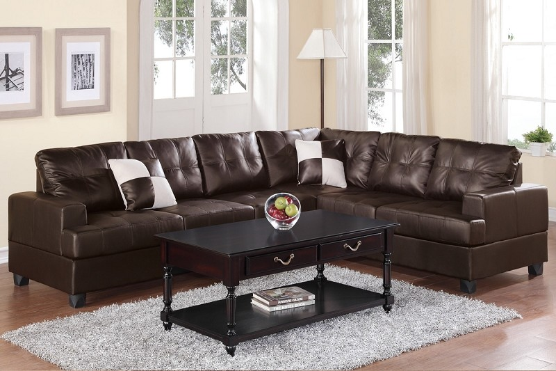 POUNDEX 2PCS SECTIONAL SOFA WITH 2 ACCENT PILLOWS, F7629