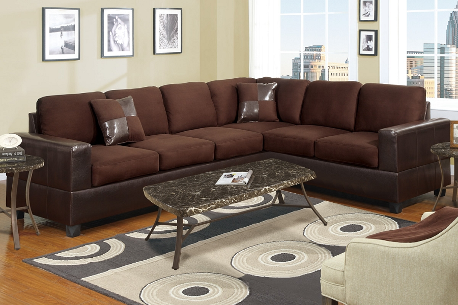POUNDEX 2 PCS SECTIONAL SOFA WITH 2 ACCENT PILLOWS, F7631